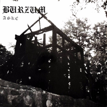 Cover of Burzum - Aske, depicting the burned church at Fantoft