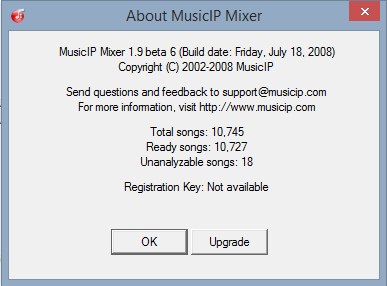 MusicIP MIxer v1.9 beta 6 About dialog box.