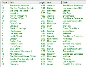 Playlist generated with one seed, tight similarity requirements