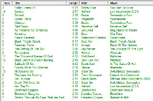 MusicIP Mixer playlist generated from multiple seeds, tight similarity control